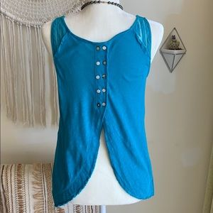 Free People Tops - Free People Ethereal Daze mesh tank top blue